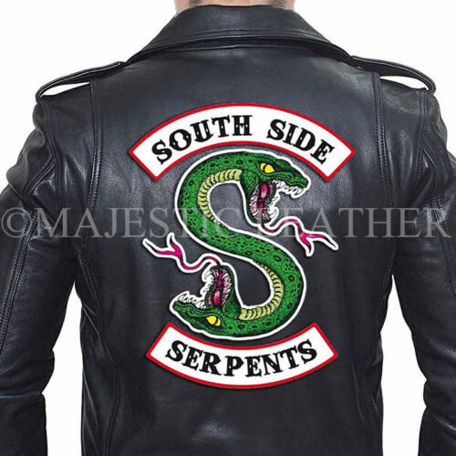 Authentique Motard Bande Southside Hommes Veste Cuir Noir Serpents qTz4ng40