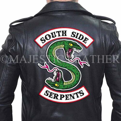 Veste Motard Bande Serpents Southside Cuir Hommes Noir Riverdale Authentique Ewq0YxBx5