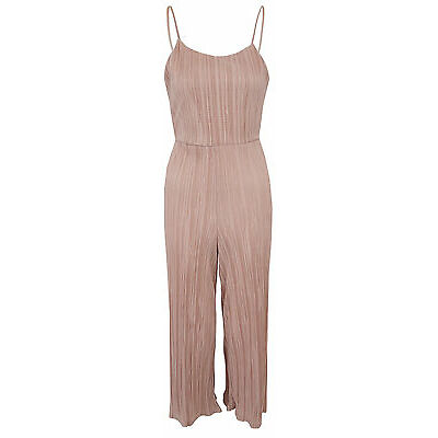 New Womens Ladies Pleated Strappy Tie Back Culotte Jumpsuit Pink Size 6-14 UK