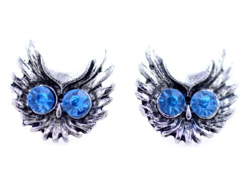 Vintage bleu yeux en cristal argent chouette boucles d/'oreilles tête