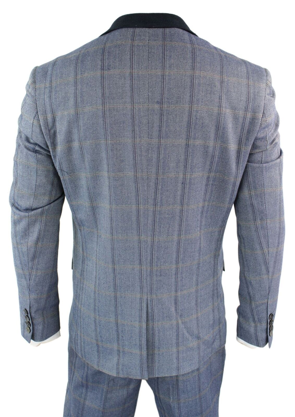 Controllo da Pezzi Uomo Tweed 3 Pezzi da Blu Navy Tuta Vintage con vestibilità su misura Principe Galles d81324