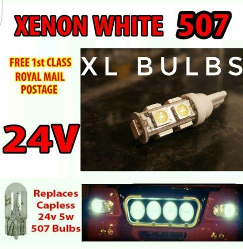 2 x White XL LED 24v Capless Side Light 501 W5W 5 SMD T10 Wedge Bulbs HGV Truck