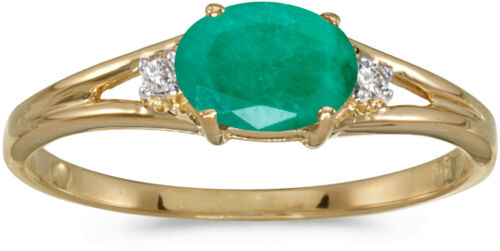 CM-RM1789X-05 14k Yellow Gold Oval Emerald And Diamond Ring