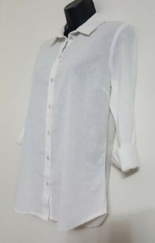NEW EX DP 8-20 White Cotton Linen Button Up Collared Smart Casual Shirt Top