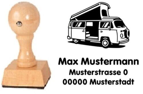 mit Wunschtext VW Bus T2 Camper Motiv-Holz-Stempel