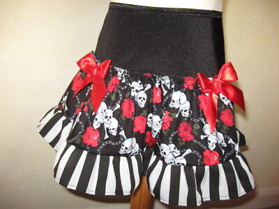 New Adult Black Red White Gothic Skulls Roses Lace Skirt rock biker Party dance