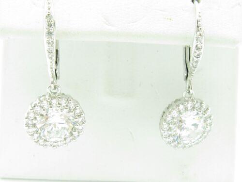 PLATINUM SILVER DIAMOND SET WHITE SAPPHIRE ROUND HALO DANGLE CHANDELIER EARRINGS