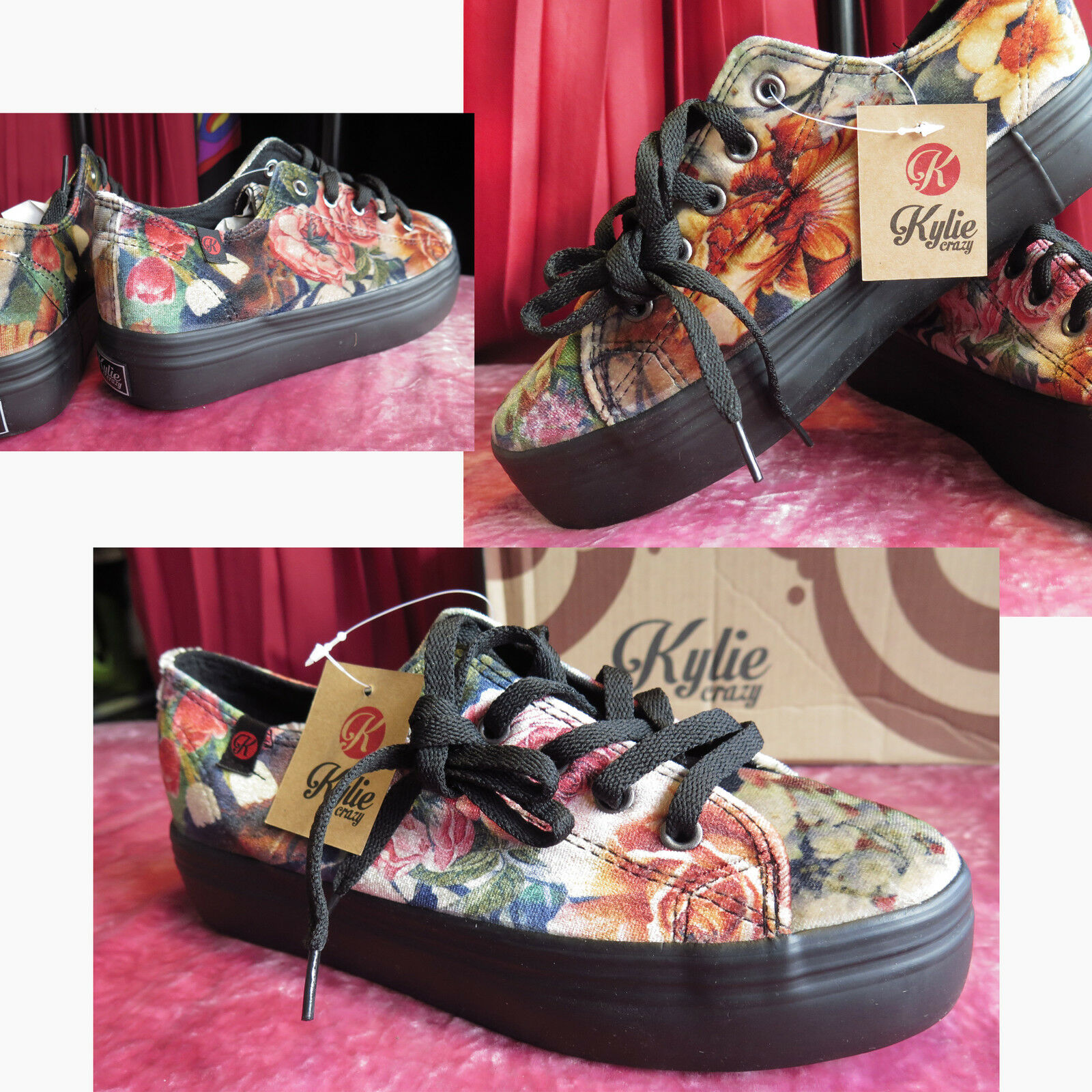 NEW HIGH QUALITY SPANISH FLORAL VELVET LACE UP CREEPERS PLIMSOLLS ON PLATFORM