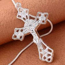 Women Fashion 925 Sterling Silver Jesus Cross Chain Pendant Necklace Jewelry New