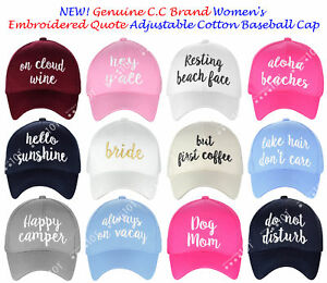 NEW! Genuine C.C Women s Embroidered Quote Cap Adjustable Cotton ... a07f8ebf18