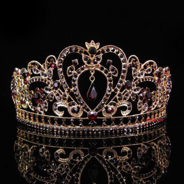 6.5cm High Heart Flower Leaf Full Crystal Tiara Crown Wedding Prom - 11 Colours