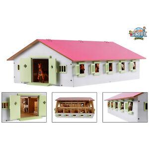 Kids-Globe-Spielzeug-Holz-Pferdestall-Stall-rosa-1-32-mit-9-Pferdeboxen-Boxen