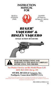 Ruger Vaquero Bisley Vaquero Owners Manual Ebay