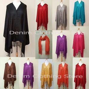 1 pc Women Wool Silk Pashmina Cape W//Buttons Scarf Shawl Stole Wrap Coat Poncho
