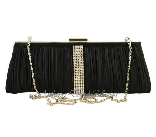 Black Satin Pleated Crystal Evening Bag