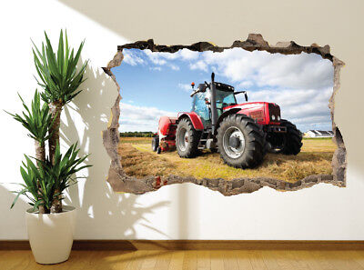 47507045 Cool red tractor ploughing a field kids bedroom wall sticker