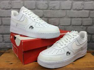 Nike-Da-Uomo-UK-10-EU-45-Air-Force-1-Basso-Scarpe-Da-Ginnastica-in-Pelle-Bianca-Utility-EP