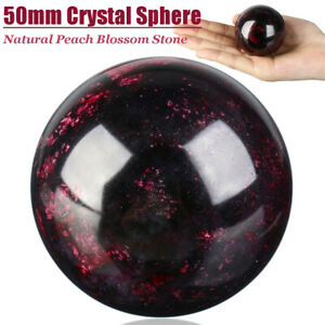 50mm-Natural-Peach-Blossom-Stone-Crystal-Ball-Sphere-Quartz-Healing-Home