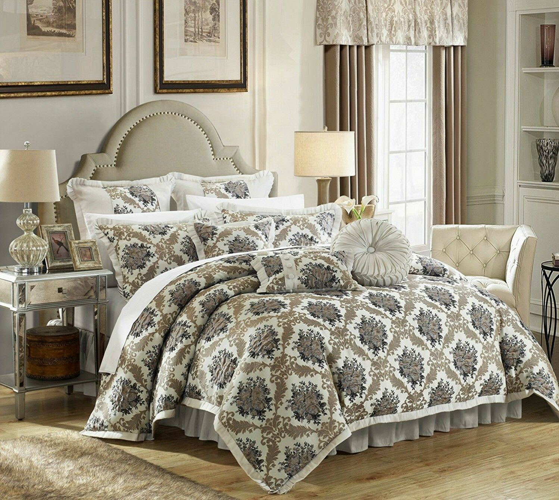 Elegant Jacquard Motif Faux Silk 9 pcs Comforter King Queen Set