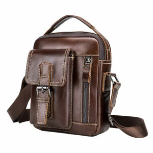 LAOSHIZI-Leather-Men-039-s-Shoulder-Bag-Fashion-Causal-Crossbody-Bag-Deep-Brown
