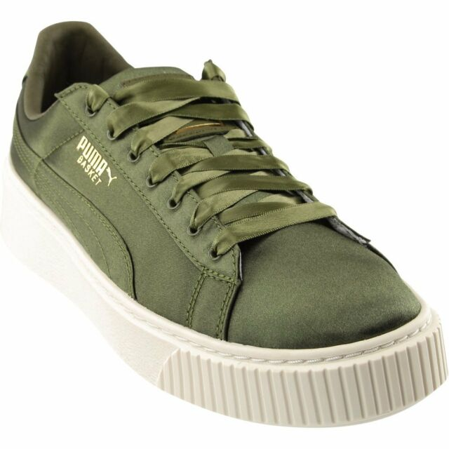1517d6ab60a PUMA Basket Platform Satin SNEAKERS - Green- Womens US Size 8.5 for ...