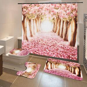 4Pcs-Sakura-Non-Slip-Bathroom-Toilet-Seat-Cover-Pad-Bath-Mat-Shower