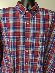 Chaps-Button-Down-Shirt-Mens-XL-Plaid-Easy-Care-Long-Sleeve-Red-White-Blue