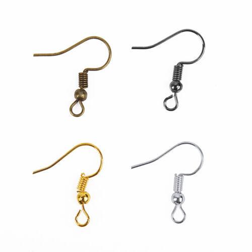 Lots 100//500Pcs Silver//Golden Plated Metal Earring Findings Clasps Hooks 19mm hi