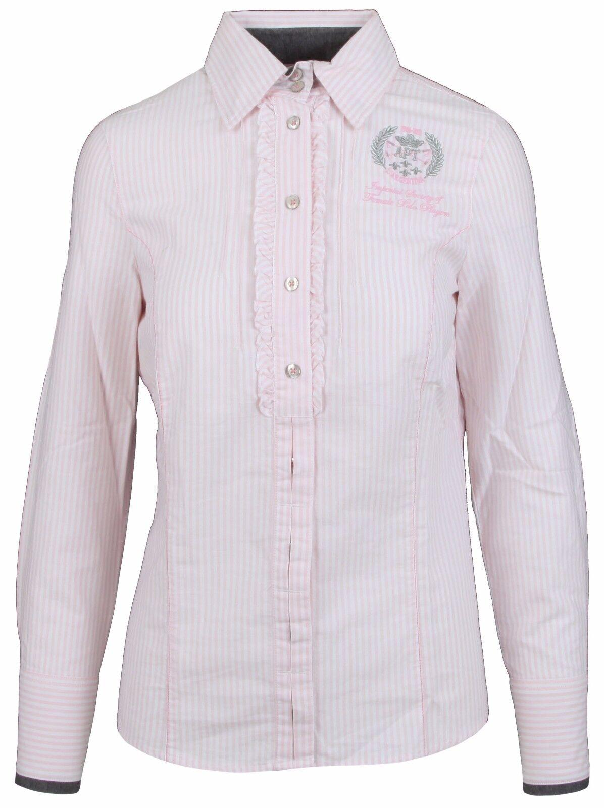 L' SilberINA Damen Blause damen Shirt Größe 38 M 100% Baumwolle Rosa Gestreift