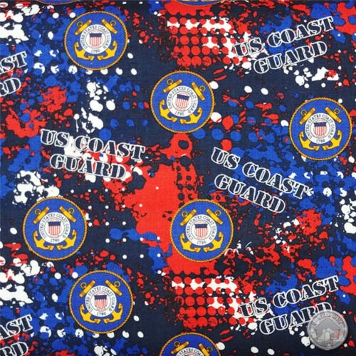 US Coast Guard Military Abstract 100/% Cotton Fabric by the Yard