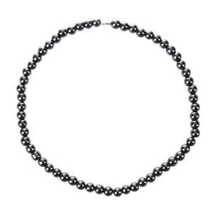 5x-Frauen-Maenner-Dunkelgrau-Rundes-Haematit-Korn-Magnetische-Halskette-GY-Q0T1