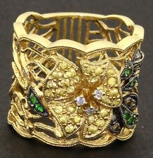 Andy G. heavy 18K gold .49CTW VS diamond tsavorite sapphire flower cocktail ring