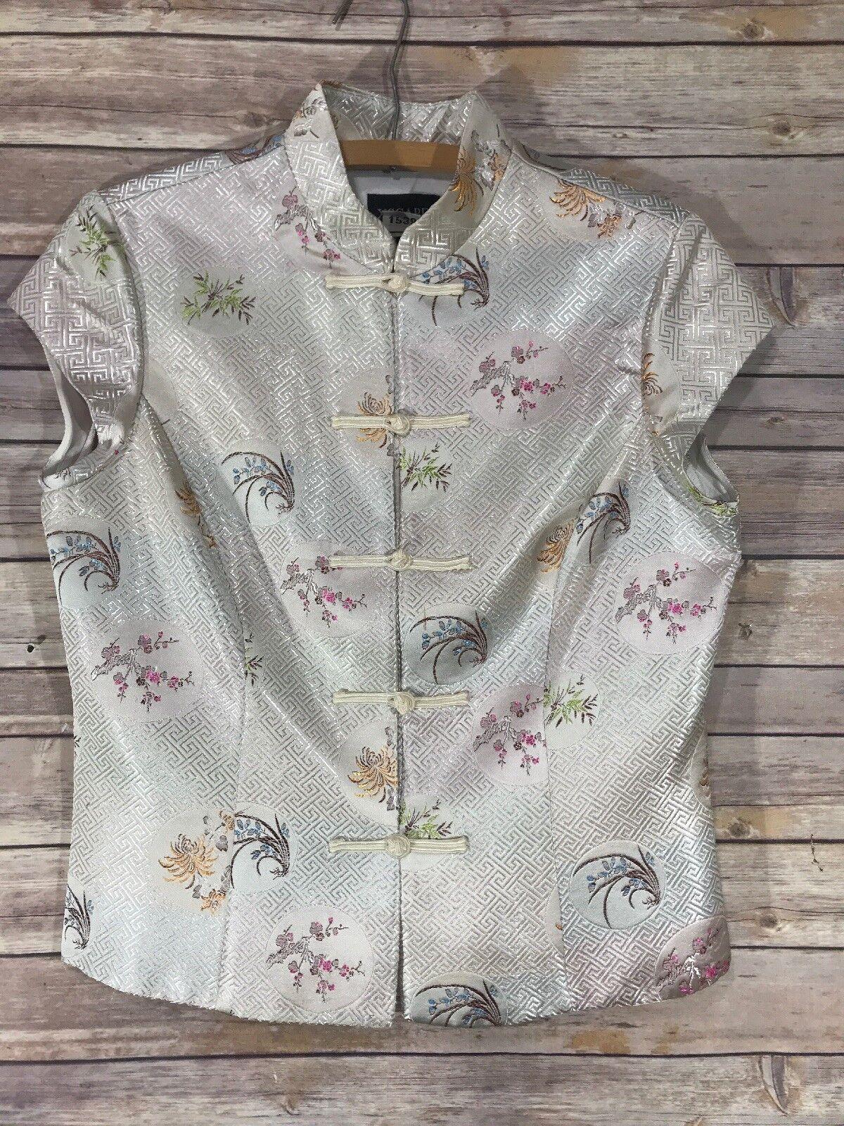 Xscape  by Joanna Chen Top Vest Sz 10 Asian Cap Sleeve Ivory 2464