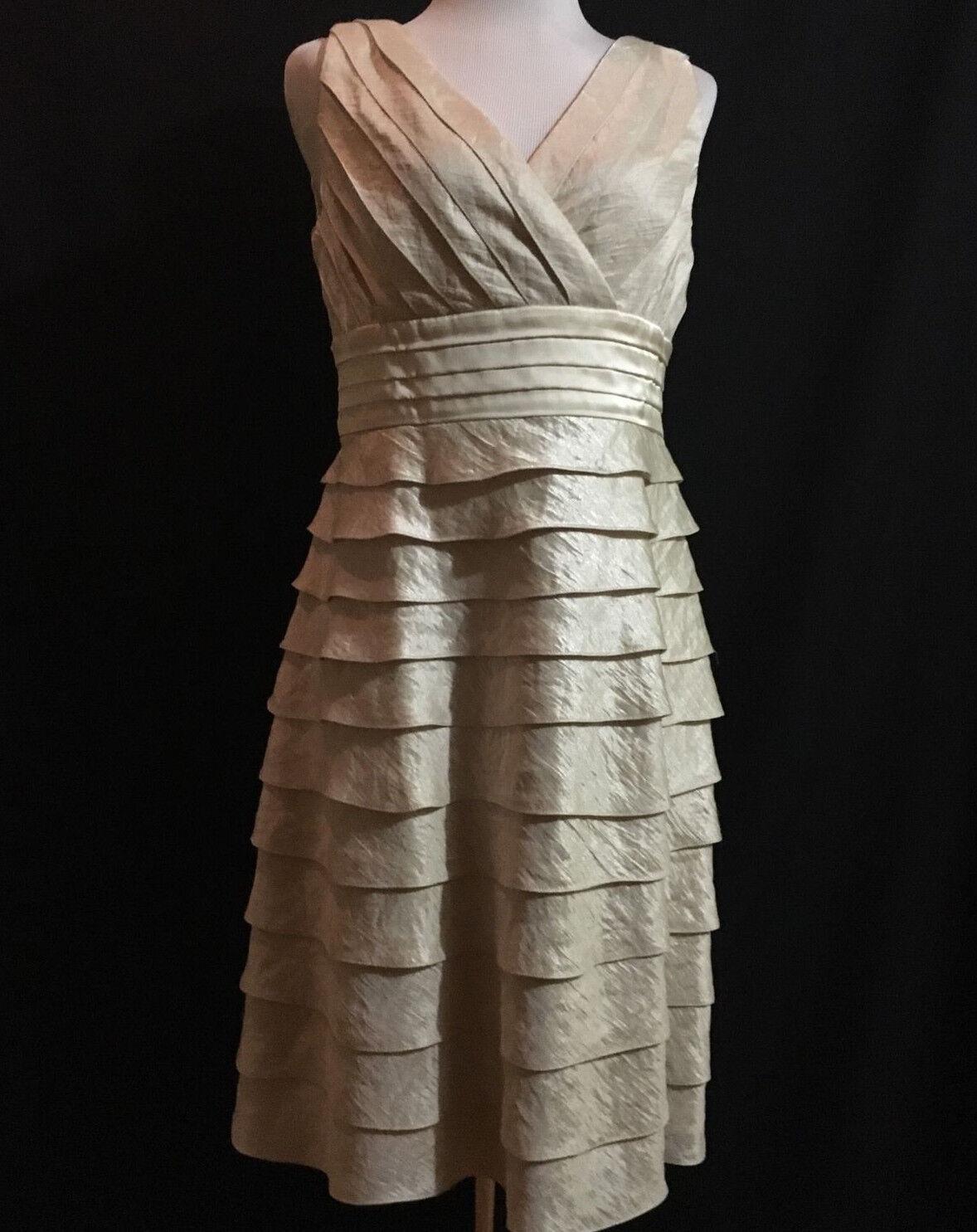 ..ADRIANNA PAPELL Woherren Beige Metallic Lined Tierot A-Line Dress Sz12