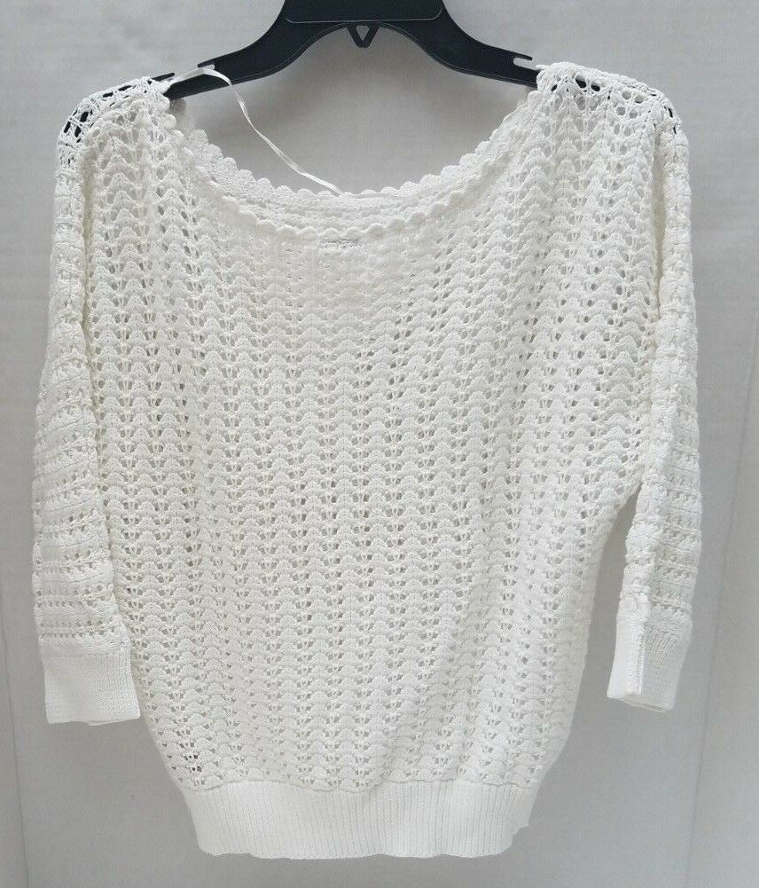 New Free People White Knit Crochet Womens Womens Womens Sweater Cardigan ANTHROPOLOGIE M NWT cceeaf
