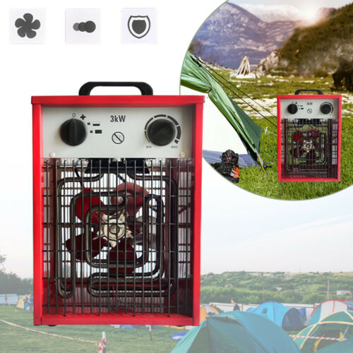 Elektroheizer Bauheizer 3kW 220V Heizlüfter Elektroheizung Heizgerät Heizung Rot