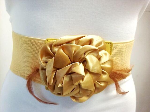 Fashion Women Mustard Yellow Wide Elastic Belt Satin Flower & Feathers S M L XL
