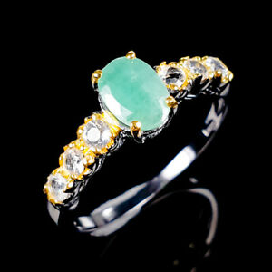 Handmade-Natural-Emerald-925-Sterling-Silver-Ring-Size-8-R119618