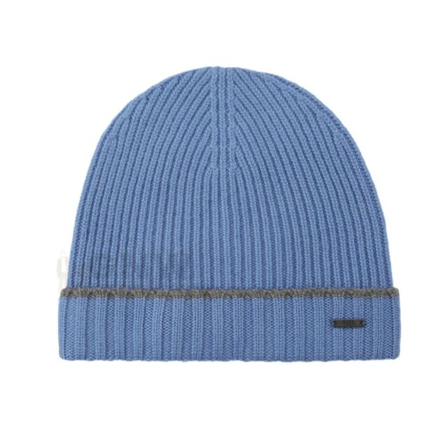 Hugo Boss Blue Fati Beanie Hat 100 Virgin Wool for sale online  abdb442ede3c