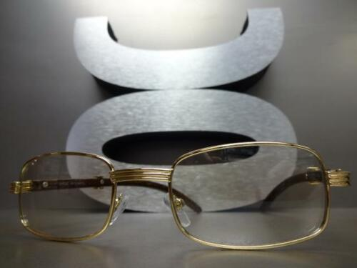 Mens CLASSY Style Clear Lens EYE GLASSES Gold /& Wood Wooden Effect Fashion Frame