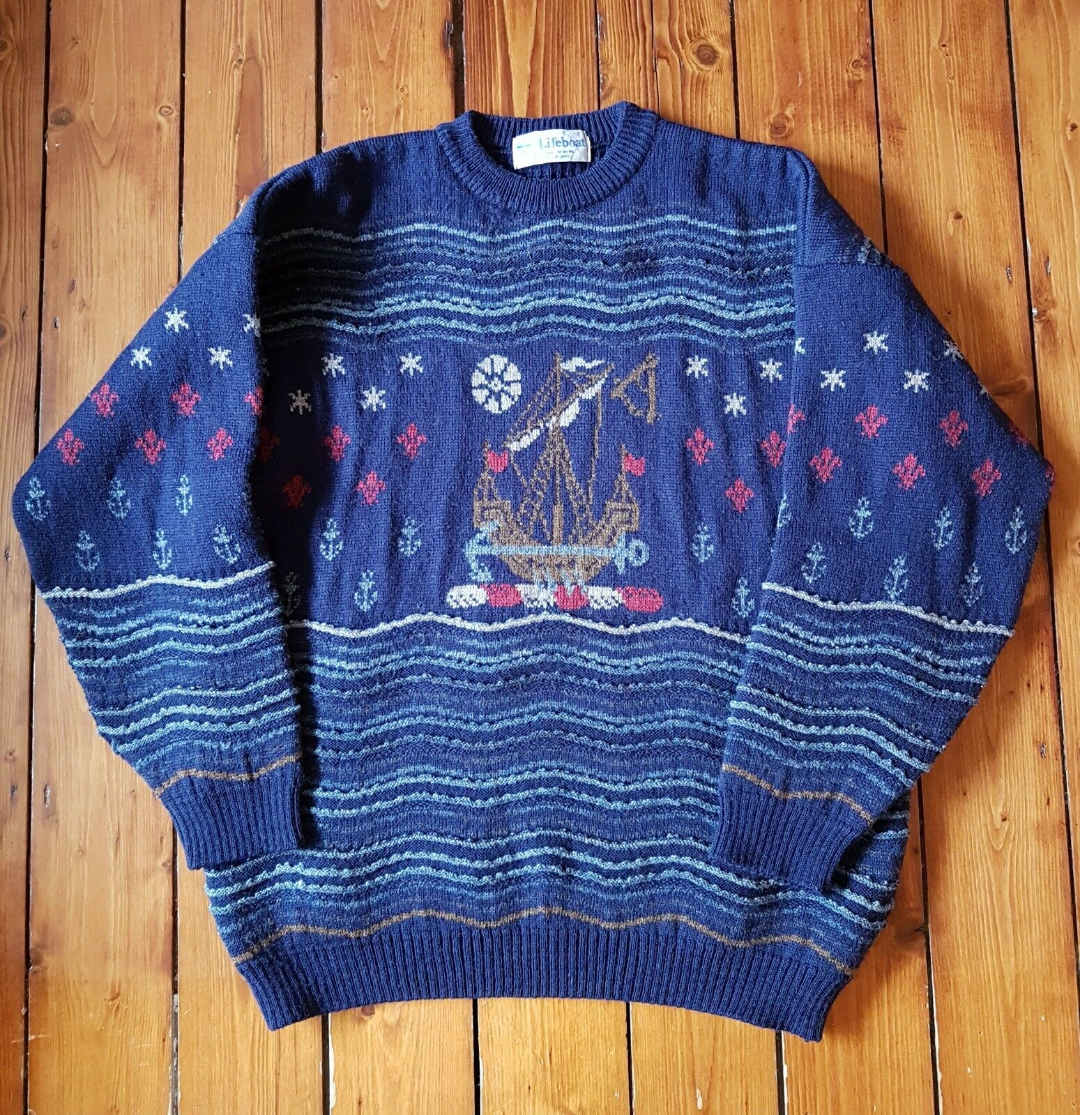 RNLI Lifeboat Navy bluee Knitted 100% Wool Winter Jumper Sweater Large 46