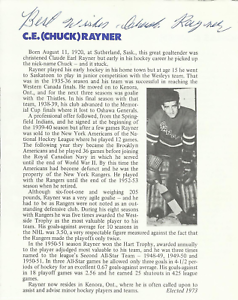 Chuck-Rayner-Autograph-New-York-Rangers-Hall-Of-Fame-Page-Cut