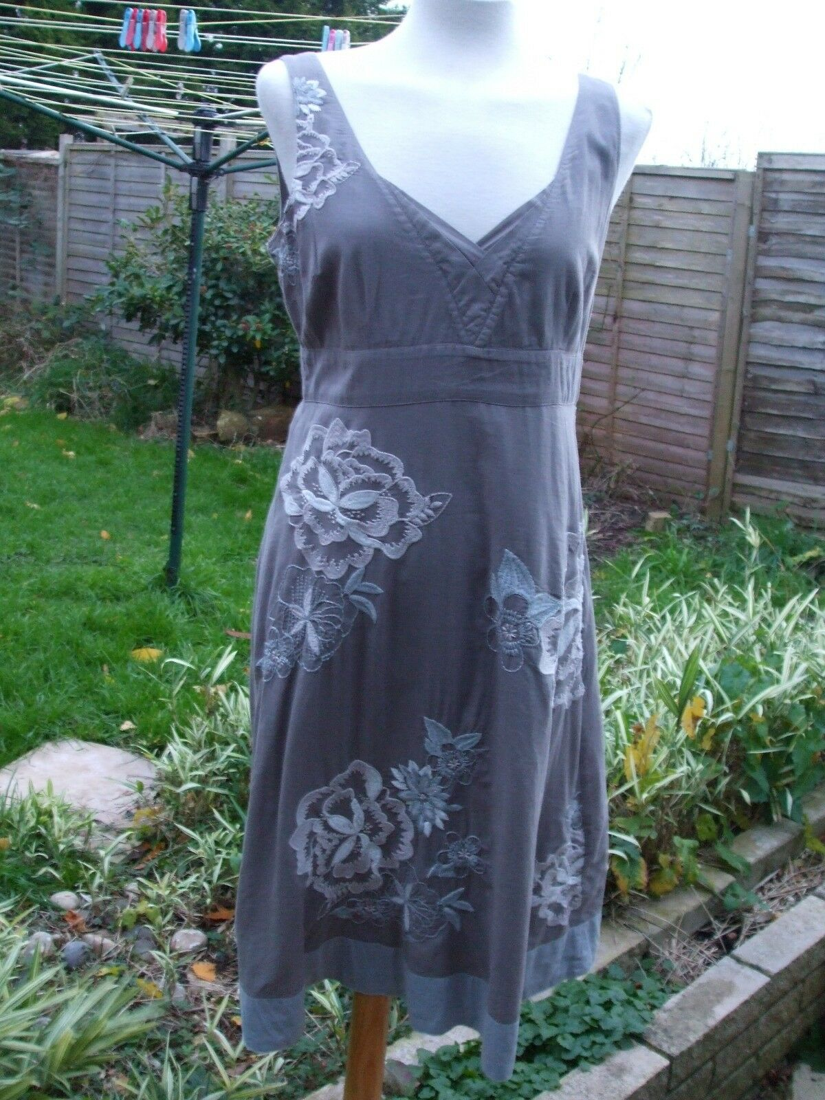 Gorgeous Taupe Flower Embroidered Sundress- MONSOON- Size 12
