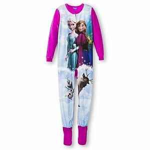 527bc519e8 Disney Frozen Elsa Anna Footed Sleeper Blanket Pajama Girl Size S 6 ...