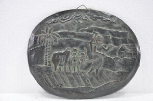 Old-Copper-Unique-Oval-Shape-Farmer-In-Field-Embossed-Scenery-Wall-Hanging-Plate