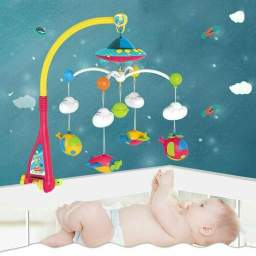 Baby Crib Mobile Bed Cot Bell Toy Holder Arm Bracket Wind-up Music Rattles Gift