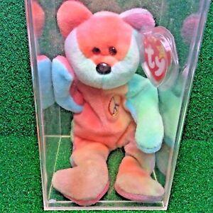 531a9f1f9a9 Super RARE PVC Peace Bear 1996 Retired Ty Beanie Baby MWMT Genuine ...
