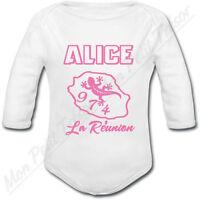 Body Bébé Ile De La Réunion Rose Avec Prénom Ou Texte Personnalisé