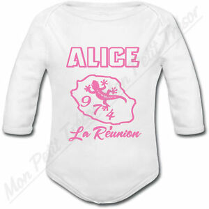Body Bébé La Réunion 974 rose avec prénom personnalisé cadeau de naissance