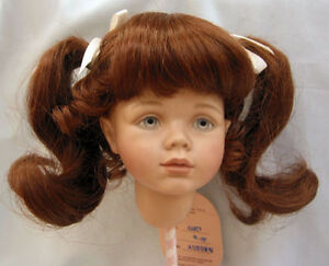 Janey DOLL WIG Auburn size 9-10 NEW ponytails /& bangs for girl or lady dolls